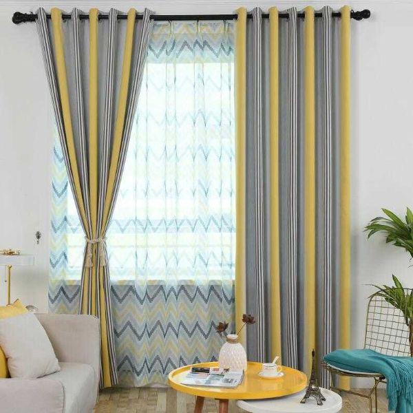diseños para cortinas de sala franjas de colores