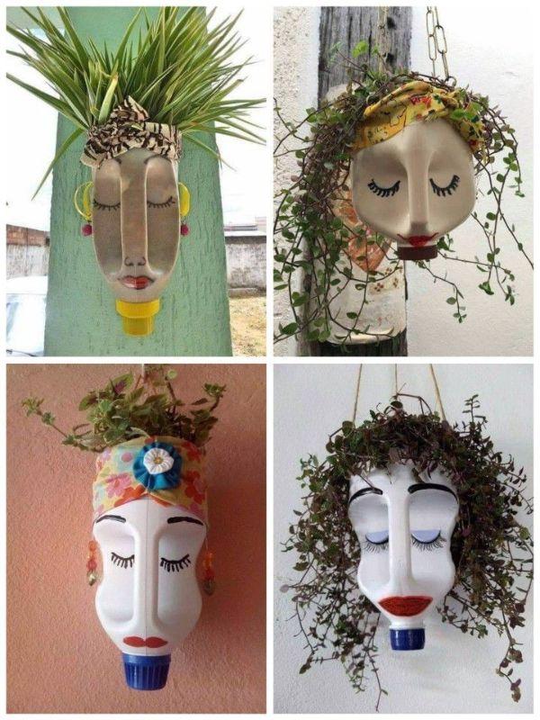 macetas colgantes recicladas para formar rostros