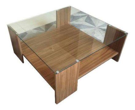 mesas de centro de melamina con cristal