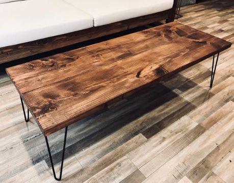 mesas de centro rusticas con patas de metal