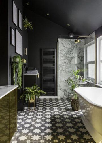 plantas para baños oscuros paredes y de pie