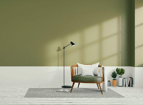salas pintadas de verde medio muro
