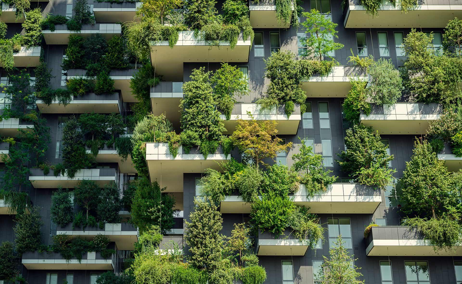 balcones modernos de concreto cargados de vegetacion