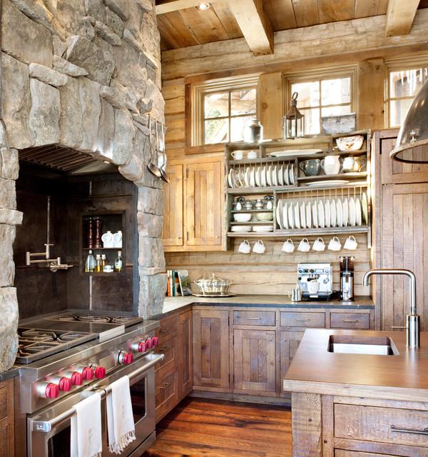 cocinas rusticas pequeñas con piedra