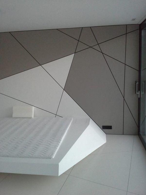 decoracion con pintura en pared estilo geometrico