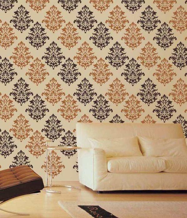 decoracion en paredes con pintura con stencil tipo tapiz