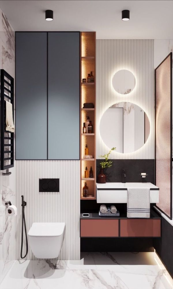 baños modernos pequeños 2020 texturas en los muros