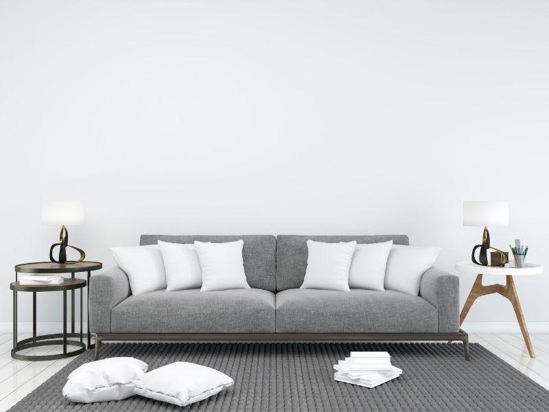 cojines para sofa gris contrastes
