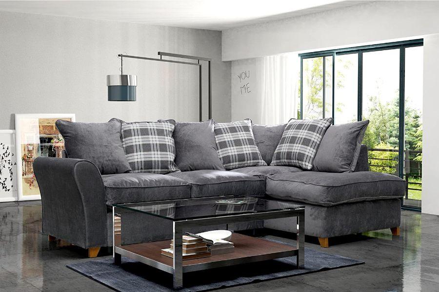 cojines para sofa gris oscuro cuadros