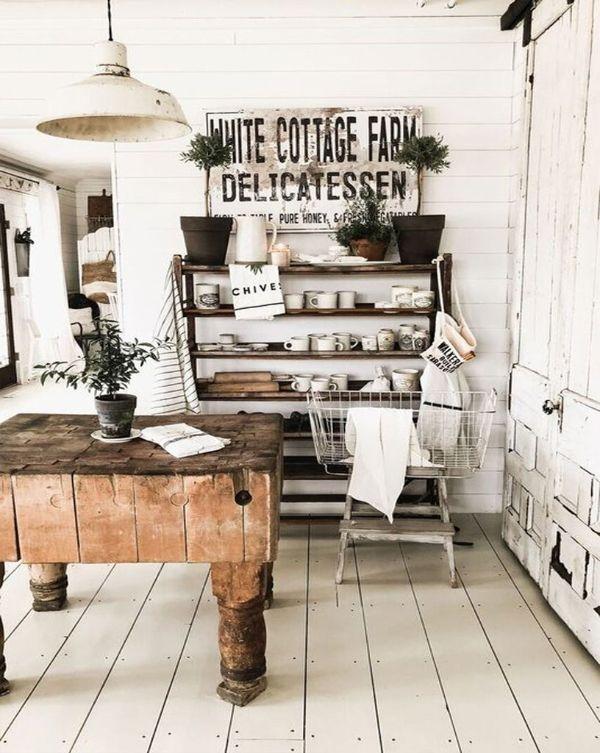 decoración para paredes blancas vintage