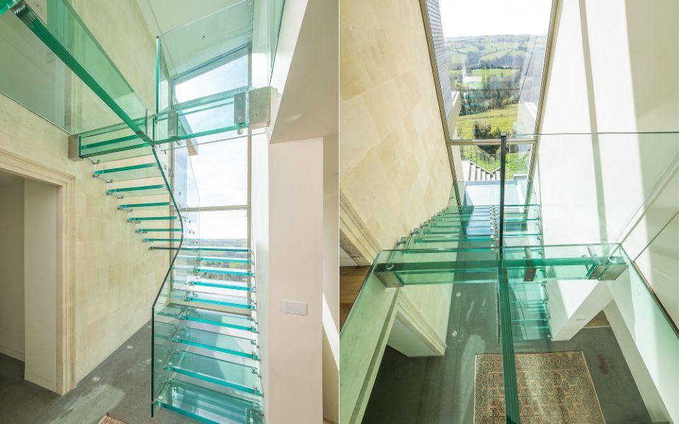 escaleras modernas para interior de cristal