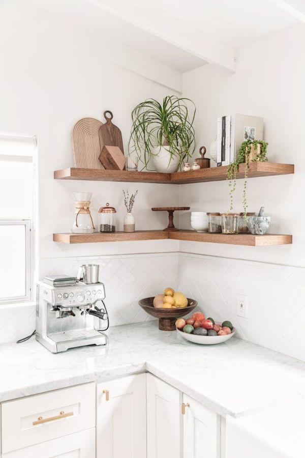 repisas para cocinas pequeñas en esquinas