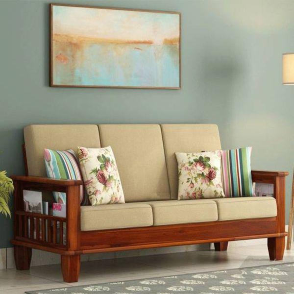 almohadones para sillones de madera con flores y rayas