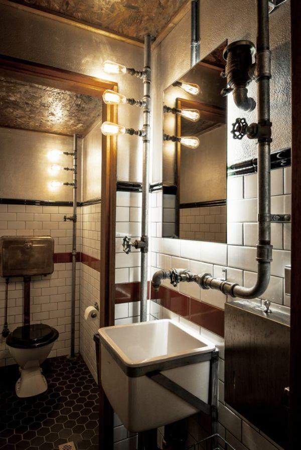 baños estilo industrial metal