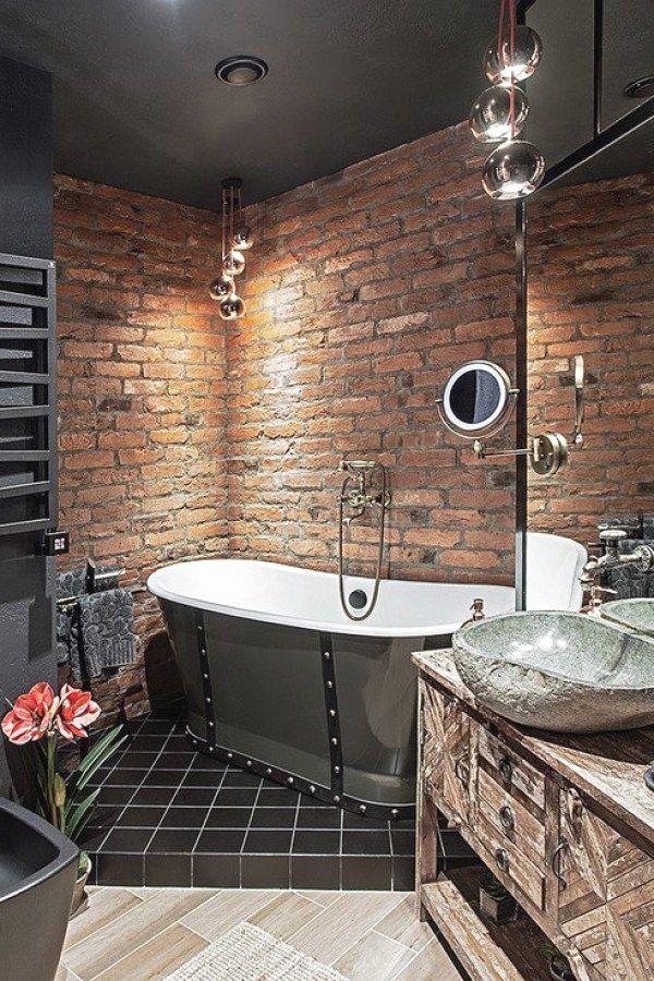 baños estilo industrial muros sin recubrimiento