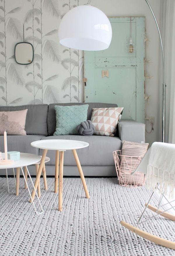 colores pasteles para sala con paredes estampadas