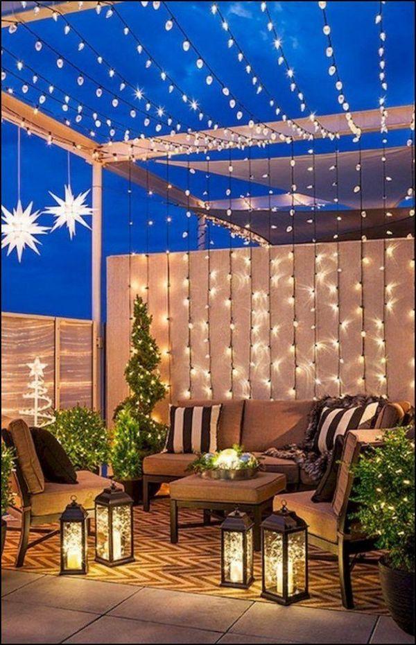 decoracion de patios pequeños ideas en iluminación