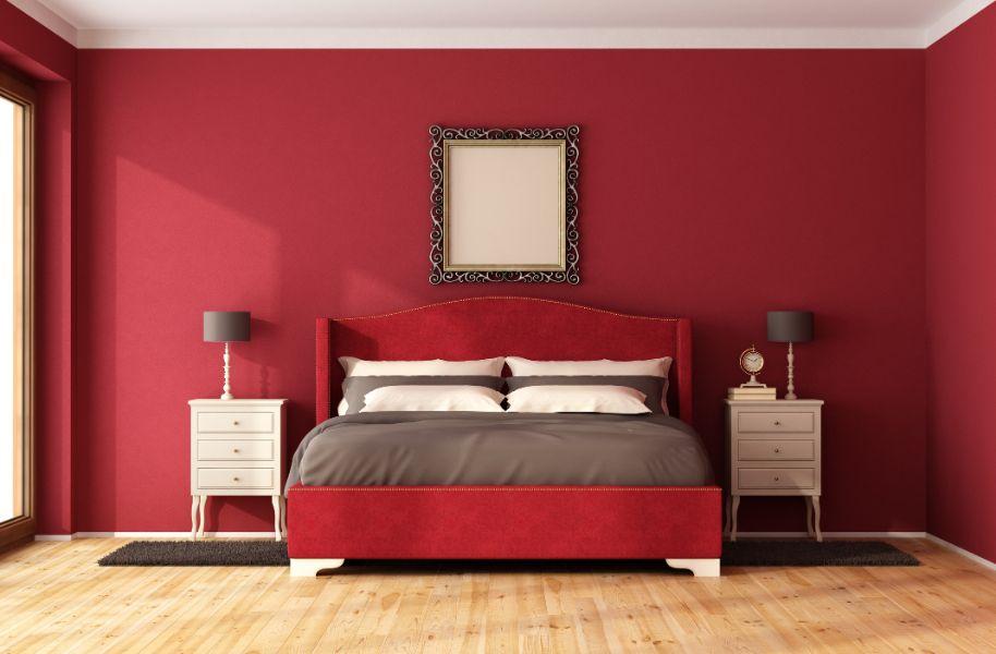 dormitorios con paredes rojas elegancia