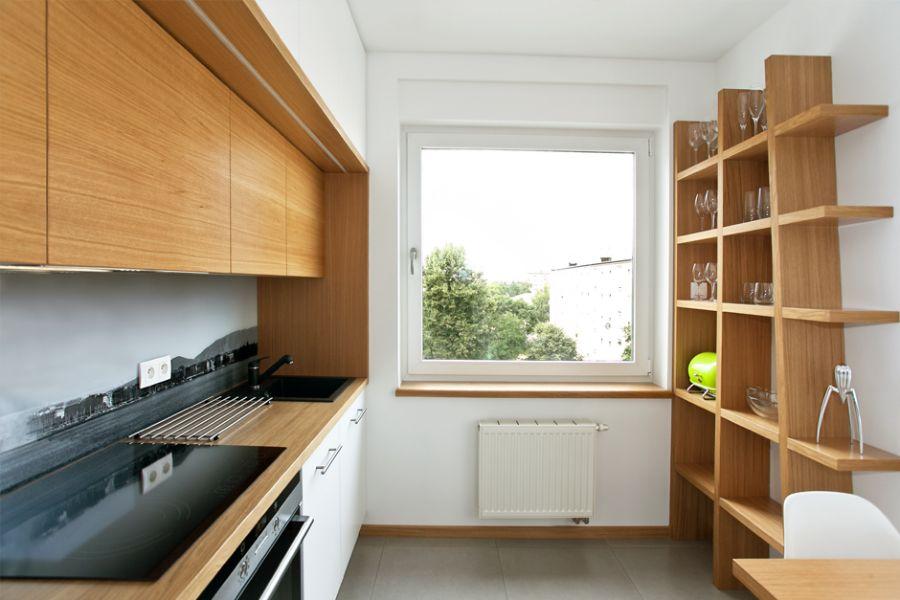 estantes de madera para cocina cuadricula