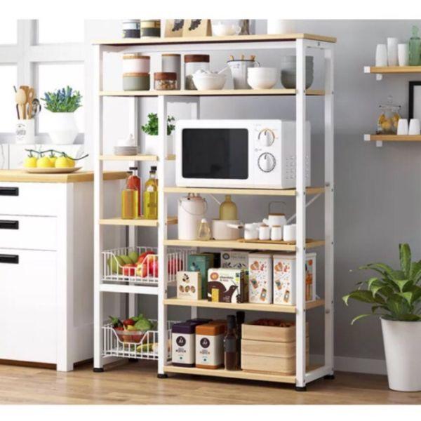 estantes de madera para cocina funcionales