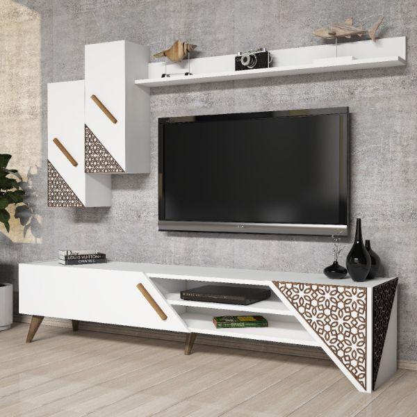 muebles modernos de televisión con grabados