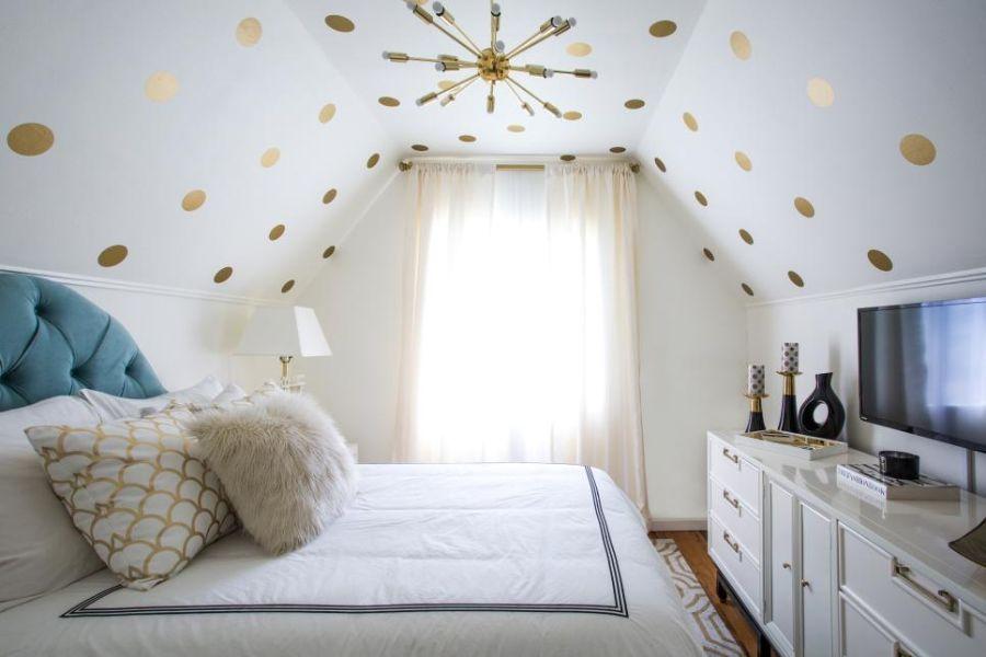 como decorar cuartos para niñas con lunares