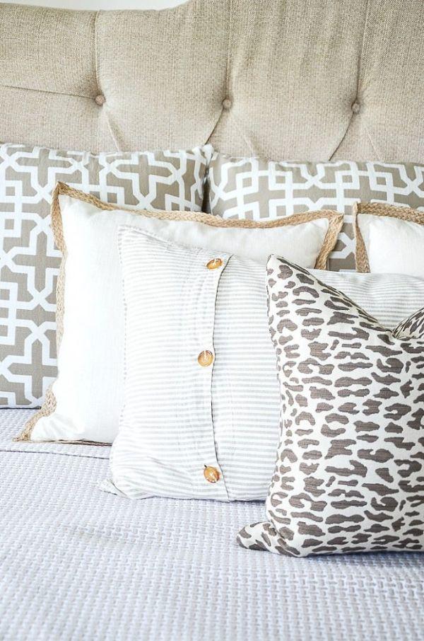 como hacer almohadones para cama telas y decorados