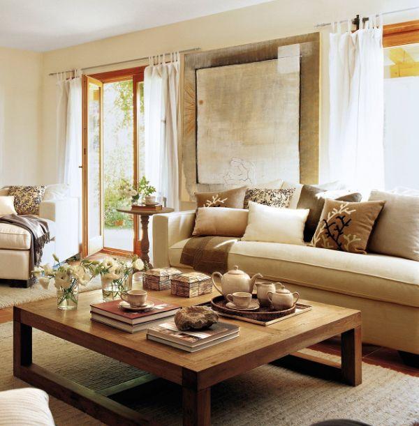 salas decoradas con madera mesas