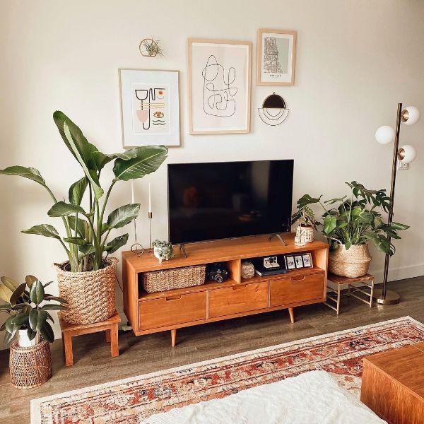 salas decoradas con madera muebles para organizar