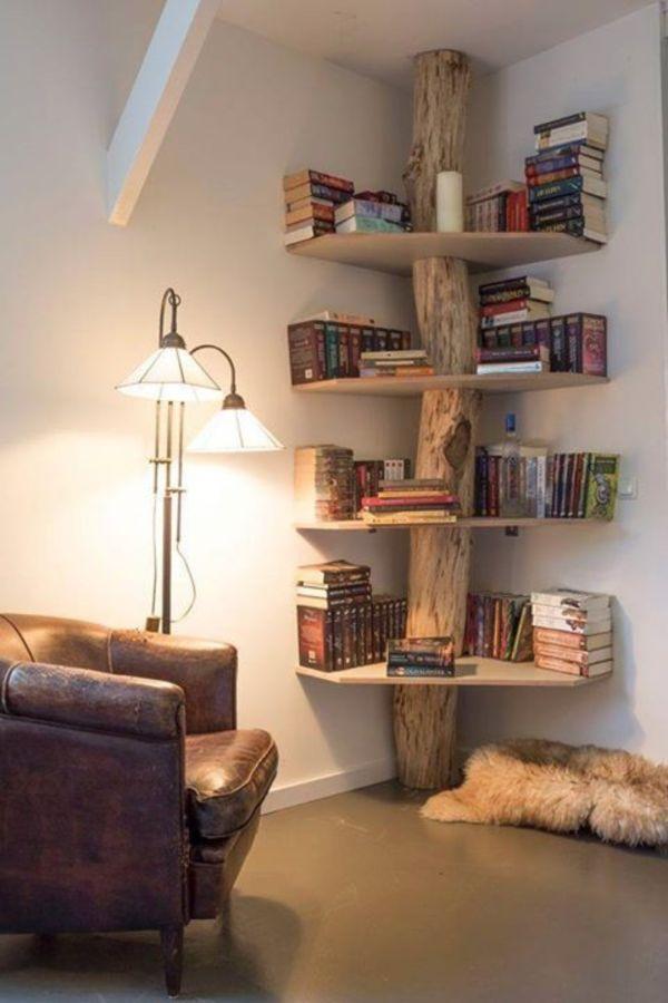 salas decoradas con madera troncos con repisas