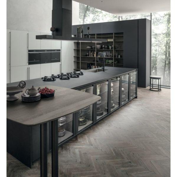 cocinas decoradas modernas con madera y cristal