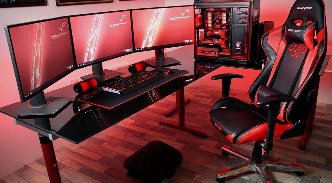 decoración gamer para tu cuarto conjunto de monitores