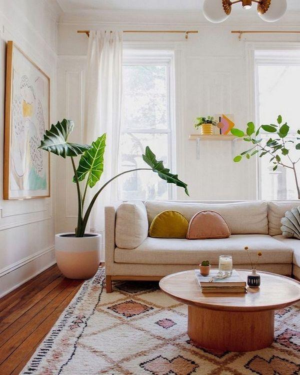 como decorar una esquina de la sala con plantas