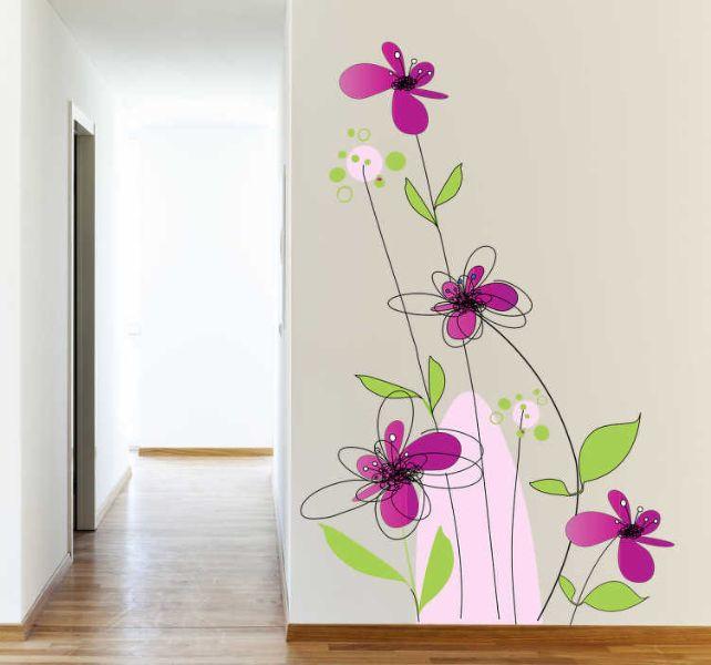 dibujos para pintar en paredes flores coloridas