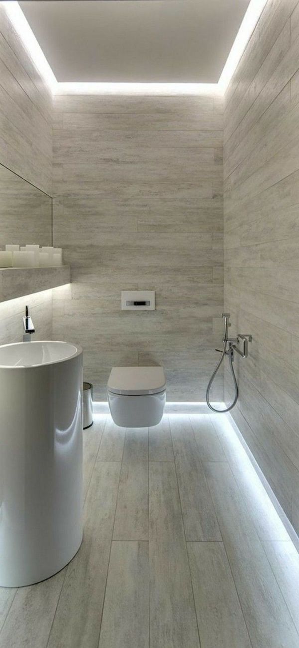 iluminación baños pequeños luces led techos y pisos