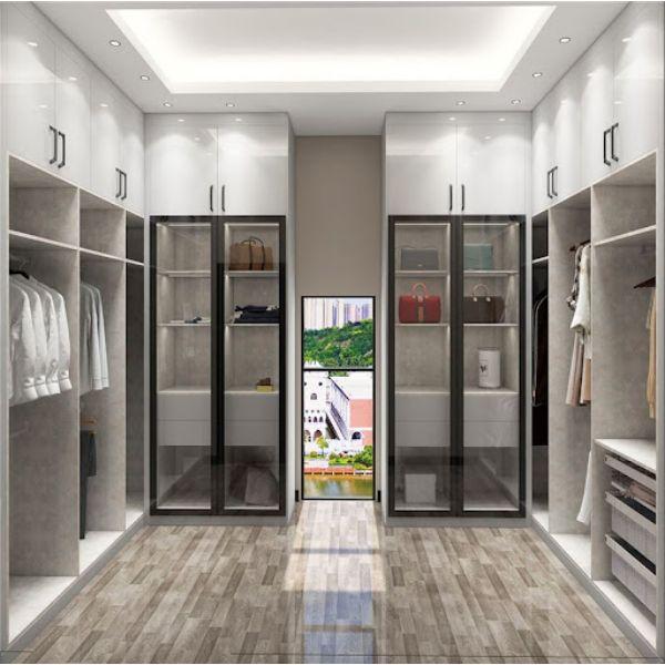 walking closet modernos con puertas de cristal