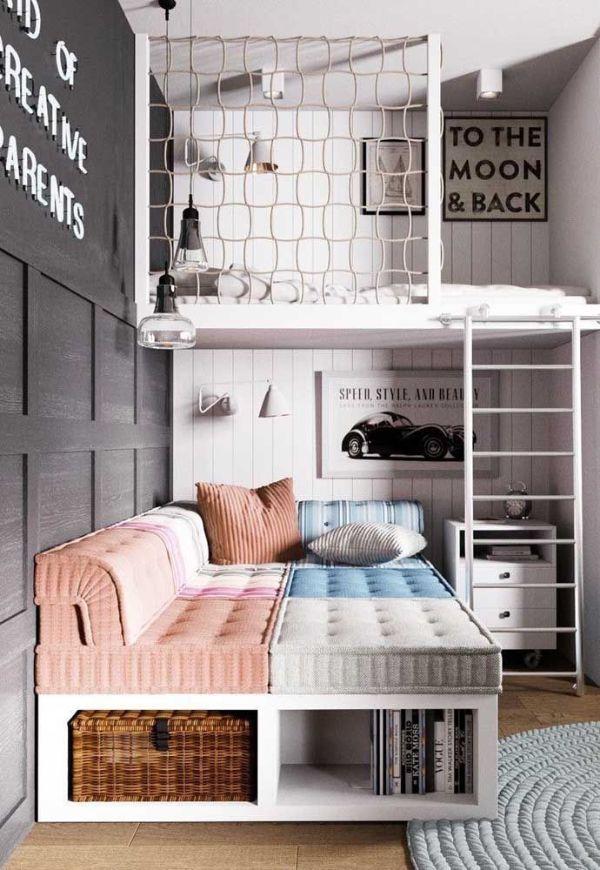 como decorar una habitación juvenil funcional y compartido