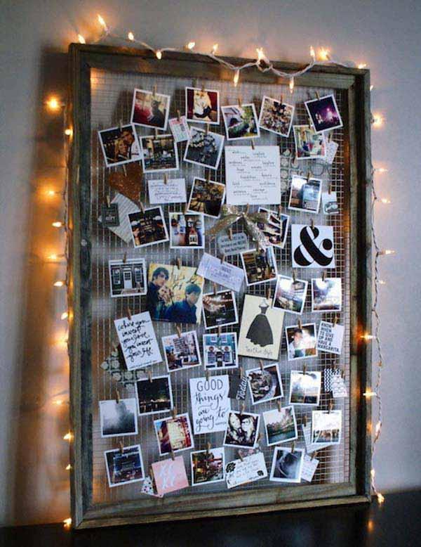 decorar la habitación con fotos en un marco