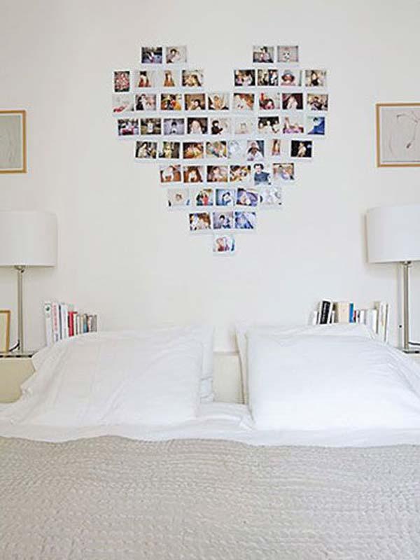decorar la habitación con fotos formando figuras