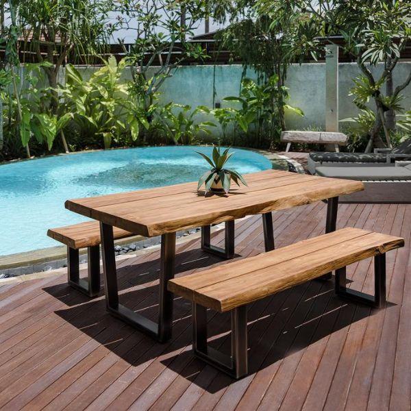 mesas para patios exteriores tipo banca
