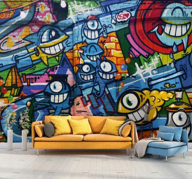paredes modernas para interiores con grafiti