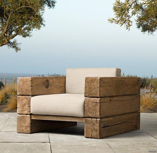 sillas de madera para jardin con polines