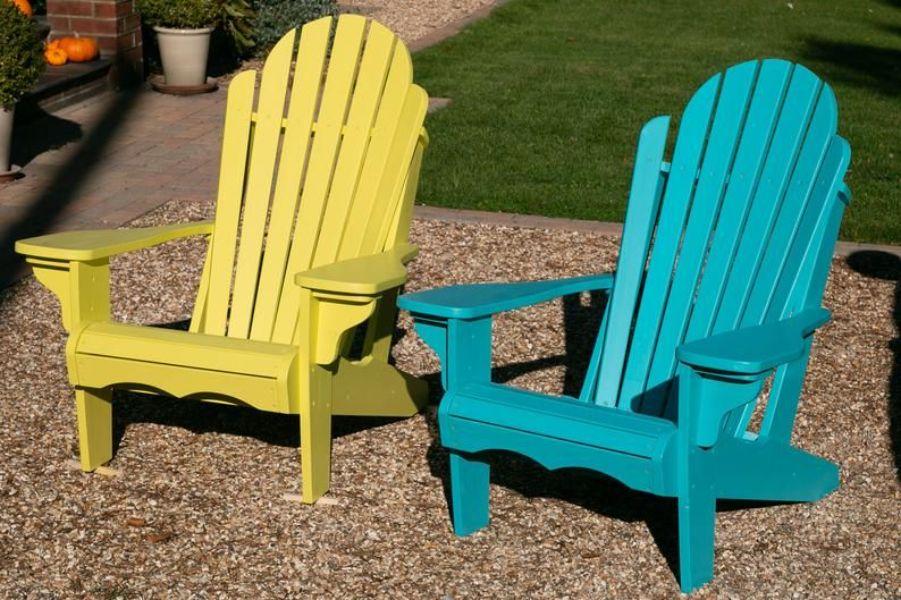 sillas de madera para jardin vintage a colores
